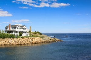 Gorgeous Waterfront House and Rocky Shore, Perkins Cove, Ogunquit, Maine.